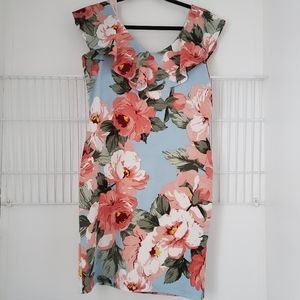 Suzy Shier Floral Flounce Skater Dress